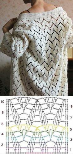 Knitting Patterns Dress Crochet pattern for a lacy design cardigan sweater. Free pattern with chart. Gilet Crochet, Crochet Coat, Crochet Cardigan Pattern, Crochet Motifs, Crochet Jacket, Crochet Diagram, Crochet Stitches Patterns, Crochet Shawl, Stitch Patterns