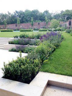Amy Perkins Garden Design – Project: Country Estate – Hampshire Limestone paving… - All For Garden Contemporary Garden Design, Modern Landscape Design, Garden Landscape Design, Modern Landscaping, Backyard Landscaping, Landscape Architecture, Architecture Design, Back Garden Design, Sloped Garden