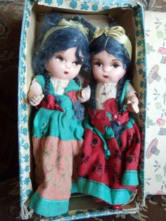 VINTAGE COMPOSITION MEXICAN / SPANISH DOLLS WITH BOX | eBay