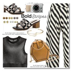 """""""Graphic Striped Pants"""" by paculi ❤ liked on Polyvore featuring H&M, ADRIANA DEGREAS, StreetStyle, Summer, casual and stripedpants"""