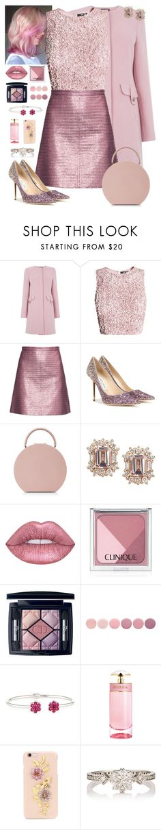 """""""Pretty in Pink"""" by fabirm ❤ liked on Polyvore featuring Carven, Jimmy Choo, BUwood, Lime Crime, Clinique, Christian Dior, Deborah Lippmann, Bayco, Prada and Dolce&Gabbana"""
