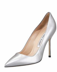Point-Toe Metallic Patent BB Pump by Manolo Blahnik at Neiman Marcus.