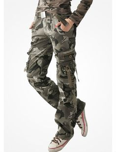New arrival 2013 outdoor military casual loose multi pockets camouflage long cargo trousers army pants for women weight 0.7kg-inPants & Capr...