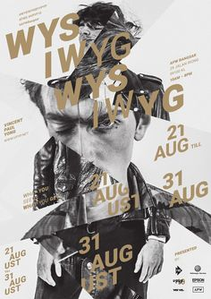 I like how the photo is split into separate sections and enlarged or made smaller in this poster. The general figure of the person is still there but there is no solid shape. The text also is slanted on the same diagonal line where the photos are balanced, and that keeps the image tied together. The gold color also ties in well with the black and white.