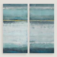 Inspired by the natural scenery of her childhood on the island of Kauai, artist Elinor Luna depicts an abstract ocean landscape with cool blue hues and a hint of yellow in this two-panel piece. Hang each lightweight canvas side by side with a one- to three-inch gap for a dramatic effect.