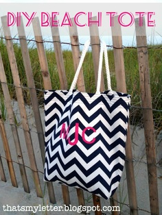 """That's My Letter: """"C"""" is for Chevron, monogrammed beach tote"""