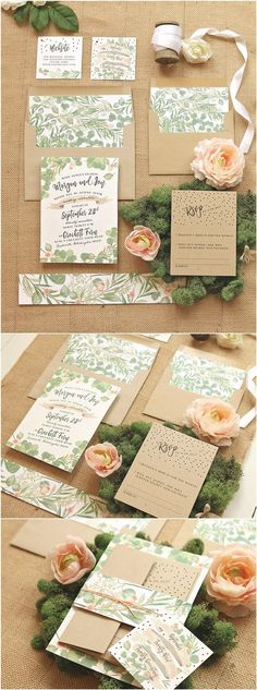 Greenery and Roses Wedding Invitation Set / http://www.deerpearlflowers.com/rustic-wedding-invitations-etsy/2/