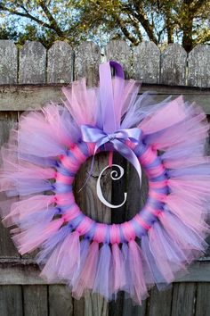Pink and Purple Tulle Tutu Ballerina Princess Wreath with Wooden Letter for Birthday or Baby Shower