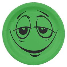 Green Stoned Eyes Smiley Face Funny Birthday Party Paper Plate