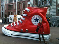 with a giant converse shoe @Jacob McPherson McPherson McPherson McPherson Rabbie