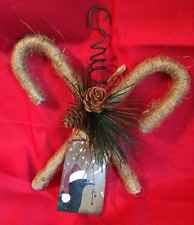 Handmade Primitive Rustic Twine Candy Canes Ornie With Greenery, Pine Cones Rusty Bells, Pips, Grungy Santa Crow Tag, & Curled Rusty Wire Hanger