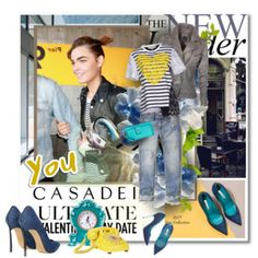 How the wear a leather jacket Spring Look ft. Stella Mc Cartney T-shirt and Denim Collection CASADEI Shoes