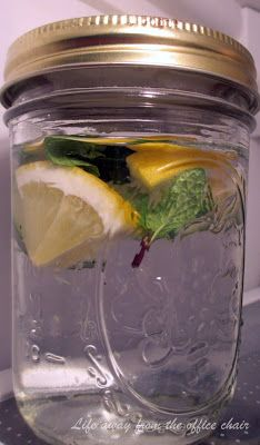 Life Away From The Office Chair: Detox Water = Large pitcher of filtered or spring water 1 large Lemon - Lemon helps cleanse and alkalize the body. 1 cucumber- excellent for re hydration and also contains anti-inflammatory properties. 8-10 fresh Mint Leaves
