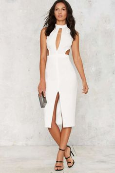 Side by Side Cutout Midi Dress - Ivory - Cocktail Dresses | Midi Dresses | Bodycon Dresses | White Dresses