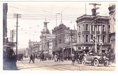 Yates Street in Victoria, British Columbia circa 1904-1918. Looking west at Government Street.