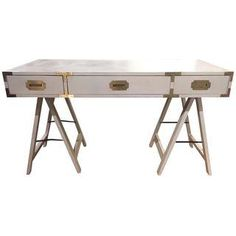 Mid-Century Campaign Style Desk - Ivory