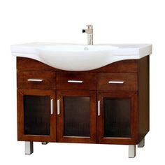 Bellaterra Home�Bellaterra 39-3/4-in x 18-1/2-in Medium Walnut Integral Single Sink Bathroom Vanity with Vitreous China Top