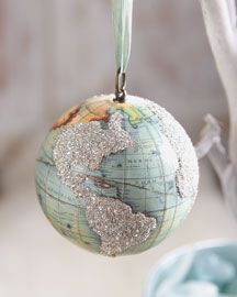 Inspiration - decoupage maps onto styrofoam balls & add a little glitter!