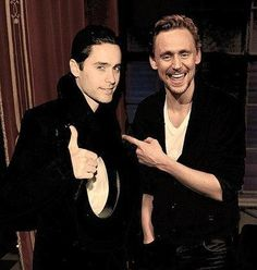 Hiddles and Leto .. funny that I found this picture of two of them .. Cause i think Tom in OLLA has an slight Jared Leto going on in his face ..