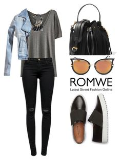 """ROMWE Grey T-Shirt"" by tania-alves ❤ liked on Polyvore featuring mode, J Brand et Moschino"