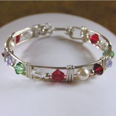 Wire Wrapped Birthstone Bracelet-family, bracelet, sterling, silver, gemstone, gems, birthstone, swarovski, crystal, custom