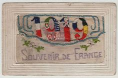 X018 WWI-Era Patriotic SILK Embroidery 1919 NEW YEAR Allied Flags POSTCARD UN