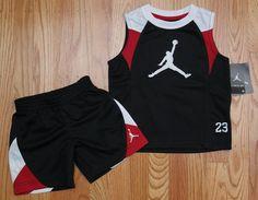 Air Jordan Toddler Boy Tank & Shorts Set ~ Black, White & Red ~ Jumpman ~ #Jordan #Jumpman