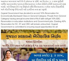 GANDHINAGAR: An ordinace giving 10% reservation in jobs and education to Economically Backward Classes (EBC) has been notified by Gujarat government. The castes that are already included in any category for reservations are not included in EBC. The draft ordinance was cleared on Wednesday by cabinet. Gujarat CM Anandiben Patel had instructed all the departments apprehensive to complete the framing...  Read More