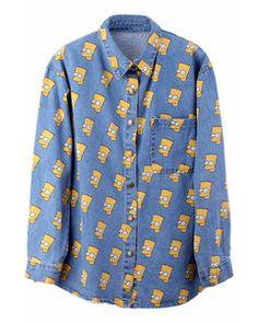ROMWE Simpson Light Blue Shirt