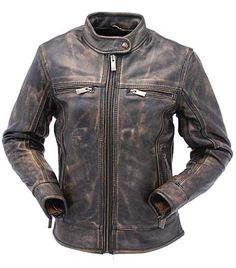 Women's Long Body Extreme Vintage Brown Leather Motorcycle Scooter Jacket with Conceal Carry Pockets