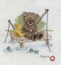 Image result for popcorn teddy bear cross stitch