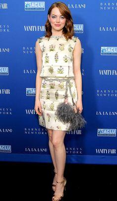 Emma Stone in a Giambattista Valli top and skirt