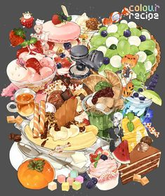 Artbook [COLOR RECIPE ] <br />Size : x />page : 24 pages Full Color<br />paper : art paper<br />cover : art paper with Gloss lamination<br />Free gift : prints x />Once purchased , item will be shipped within 7 working days. Cute Food Drawings, Cute Kawaii Drawings, Kawaii Art, Cute Food Art, Cute Art, Food Texture, Dessert Illustration, Food Sketch, Food Painting