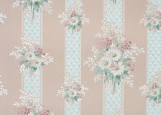 1940's Vintage Wallpaper blue stripe with pink by HannahsTreasures