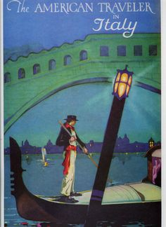 Vintage Travel Poster The American Travel In Italy by wifecruella, $6.00