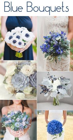 blue bridal bouquets from the B&E Lucky in Love Wedding Blog #blueflowers #bridalbouquet #weddingflowers