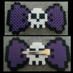 Skull bow hair clip made from perler beads