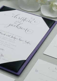 Beautiful wedding invitation with purple and black color palette