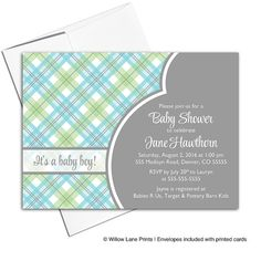 Baby boy shower invitations printable | plaid baby shower invites for boys | green gray blue | digital or printed - WLP00713 by WillowLanePaper