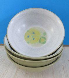 Noritake Bowls South Pacific Japan Stoneware Set of 4 Folkstone 8503 Tiki VTG #Noritake