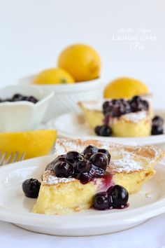 Lemon pie cake with blueberry compote - & you are a lemon lover like I am, this is a must try. Whether you are having a dinner party with friends, or a hosting a weekend brunch this is a dessert everyone will rave about! Lemon Desserts, Lemon Recipes, Pie Recipes, Just Desserts, Delicious Desserts, Dessert Recipes, Cooking Recipes, Yummy Food, Lemon Cakes