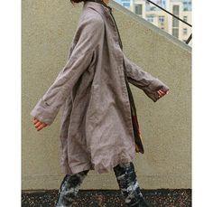 Free Style Pleated Linen Long Jacekt/ Cape/ Heather  by Ramies, $89.00