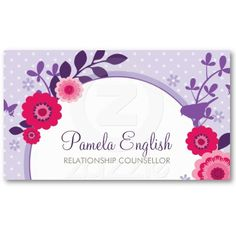 A pretty, WHIMSICAL BUSINESS CARD featuring a modern floral design with bird silhouette. For the avid blogger, counsellor, natural therapist, yoga / Pilates instructor, midwife or doula.  More colours available in store