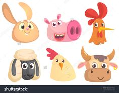 Set of cartoon farm animals head icons. Vector collection of farm domestic  animals. Rabbit, pig, rooster, sheep, chicken, cow.  Design elements or logos isolated.