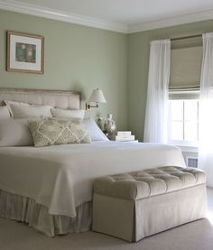 Master Bedroom A peaceful bedroom. Breathe Easy: Control Allergens In The Home Mention respirator Green Bedroom Walls, Green Master Bedroom, Sage Green Bedroom, Bedroom Colors, Home Decor Bedroom, Bedroom Ideas, Light Green Bedrooms, Green Rooms, Peaceful Bedroom