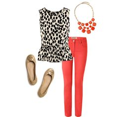 spotted/polka dotted peplum sleeveless top + coral skinny jeans + gold/coral bib necklace + creamish tan flats