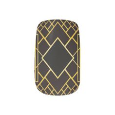 Art Deco Nail Stickers--These stylish, black and gold, Art Deco Nail Stickers will be the perfect accessory for any Art Deco lover. They are both a classic and modern reminder of the Jazz Age! #Deco #Nails #Fingernails #Manicures #Minx #ArtDeco #Zazzle