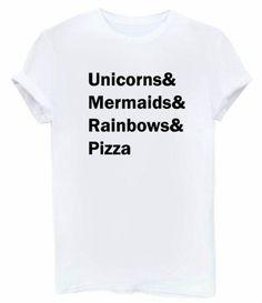 Unicorns Mermaids Rainbows Pizza Print Women tshirt Cotton Casual Funny t shirts For Lady Top Tee Hipster Drop Ship Tumblr SB03