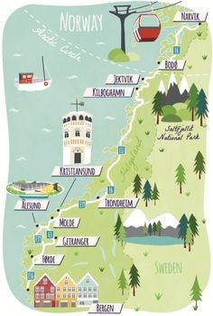 Illustrated Map of Norway for Guardian Travel showing Bergen, Trondheim, Alesund. Narvik, Alesund, Norway Roadtrip, Norway Travel, Tromso, Travel Maps, Travel Posters, Travel Europe, Jotunheimen National Park