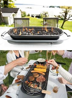 Social Grill Instead of playing chef for your guests, this tabletop charcoal grill makes everyone responsible for cooking their own dinner. Barbecue, Bbq Table, Grillin And Chillin, Smoke Grill, Grilling Tips, Grill Master, Outdoor Kitchen Design, Charcoal Grill, Outdoor Cooking